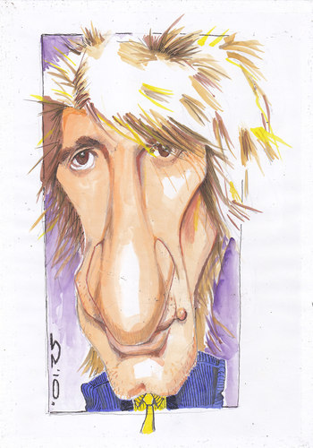Cartoon: Rod Stewart (medium) by zed tagged caricature,portrait,people,famous,singer,music,rock,england,london,stewart,rod
