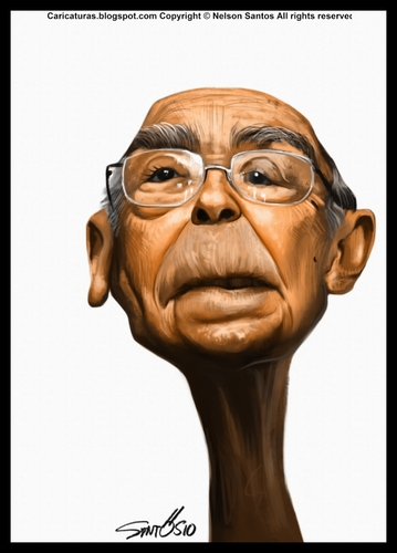Cartoon: Saramago portrait caricature (medium) by Caricaturas tagged saramago,portrait,caricature