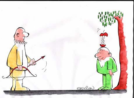 Cartoon: Tell (medium) by ERDOGAN tagged father,son,apple,arrow