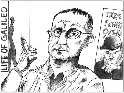 Cartoon: Bertolt Brecht (medium) by firuzkutal tagged bertolt,brecht,german,marxist,poet,playwright,theatre,kurt,weill