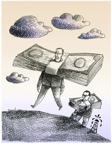 Cartoon: Oil makes the world go around (medium) by firuzkutal tagged slave,platform,following,cloud,sky,power,capitalism,money,usa,petrol,iran,syria,war,oil