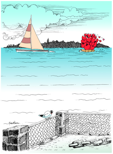 Cartoon: I send you my loves (medium) by firuzkutal tagged love,sea,sending,greeting,firuz,kutal,boat,love,sea,sending,greeting,firuz,kutal
