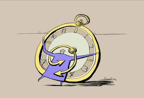 Cartoon: We are friends time and me... (medium) by firuzkutal tagged time,clock,