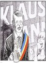 Cartoon: Romanian President Klaus Iohanns (small) by firuzkutal tagged romania,firuz,kutal,etnic,germany,german,klaus,iohanns,werner,president,octoberfest,election,winning,wins