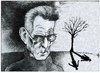 Cartoon: Samuel Beckett (small) by firuzkutal tagged samuel,beckett,teatre,irish,novelist,poet,playwright,absurd