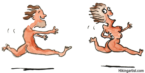 Cartoon: Early communication (medium) by Frits Ahlefeldt tagged naked,man,woman,chasing,love,family,running,prehistoric,paradise,romance,game