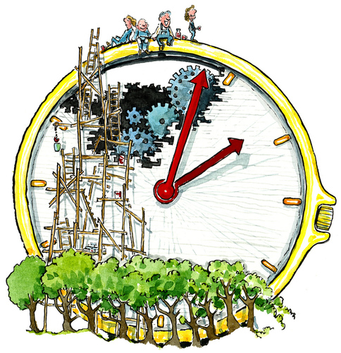 Cartoon: Time to go back in... (medium) by Frits Ahlefeldt tagged time,clock,reality,life,einstein,view,break