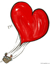 Cartoon: Love Balloon (small) by Frits Ahlefeldt tagged love,emotion,feeling,affection,couple,people,balon,air,flying