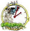 Cartoon: Time to go back in... (small) by Frits Ahlefeldt tagged time,clock,reality,life,einstein,view,break