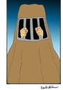 Cartoon: burka (small) by kader altunova tagged frauen,freiheit,burka,gitter,hände,islam,religion