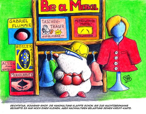 Cartoon: Maulwurf_Merkel (medium) by Jupp tagged maulwurf,mole,merkel,kanzlerin,souvenir,shop,berlin