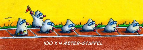 Cartoon: Staffel (medium) by Jupp tagged maulwurf,cartoon,jupp,staffel