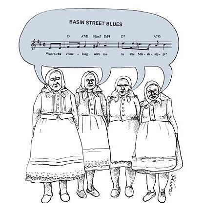 Cartoon: Basin Street Blues (medium) by Jiri Sliva tagged blues,music,basin,street