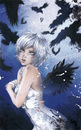 Cartoon: Krähen Coverillustration (small) by Marie Sann tagged cover,krähen,crows,manga,pencil,colour,color,blue,ice,girl,sexy,fantasy,woman,pose,mystic,comic,tokyopop