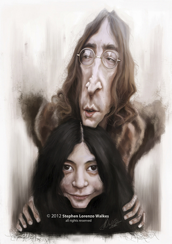 Cartoon: John and Yoko (medium) by slwalkes tagged johnlennon,yokoono,thebeatles,imagine,digitalpainting,stephenlorenzowalkes,wacom