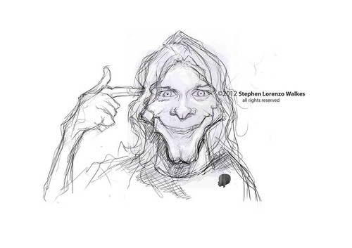Cartoon: Kurt Cobain sketch (medium) by slwalkes tagged stephenlorenzowalkes,kurtcobain,nirvana,singer,sketch