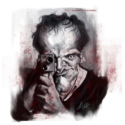 Cartoon: Quentin Tarantino (medium) by slwalkes tagged director,caricature,django,stephenlorenzowalkes