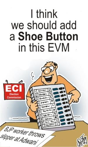 Cartoon: Extra Shoe Button on Voting Mach (medium) by bamulahija tagged adwani,bjp,congress,current,affairs,election,cartoon,political,politician,politics,shoe,throwing,sonia,gandhi