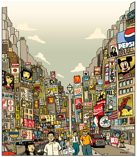 Cartoon: tokyo - new york (medium) by rasmus juul tagged brush,and,photoshop