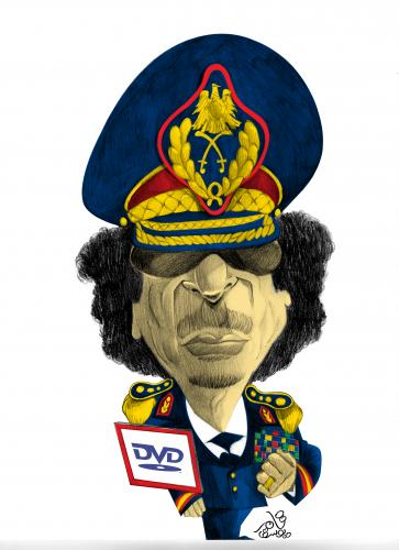 Cartoon: Muammar al-Gaddafi (medium) by tamer_youssef tagged qaddafi,muammar,al,gaddafi,abu,minyar,libya,catoon,caricature,portrait,pencil,art,sketch,illustration,by,tamer,youssef,egypt,usa