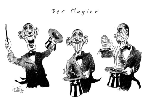 Cartoon: Der Magier (medium) by Stuttmann tagged obama,usa,magier,barack obama,usa,präsident,amerika,magier,magie,zauber,zauberer,barack,obama