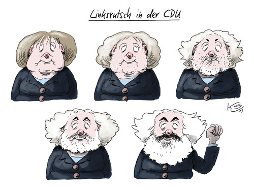 Cartoon: Linksrutsch in der CDU (medium) by Stuttmann tagged merkel,cdu,links