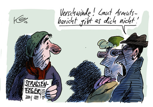 Cartoon: Verschwinde! (medium) by Stuttmann tagged armutsbericht