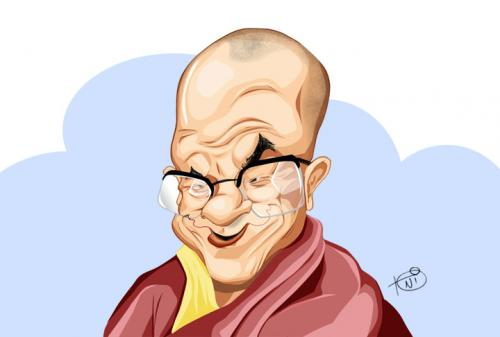 Cartoon: Dalai Lama (medium) by Toni DAgostinho tagged caricature,