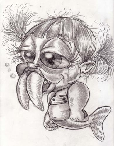 Cartoon: this aint yo mamas mermaids 1 (medium) by subwaysurfer tagged mermaid,child,caricature,cartoon