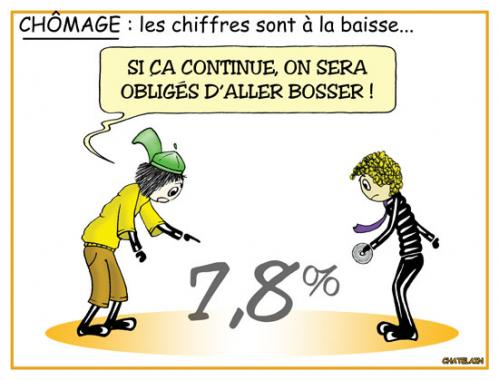 Cartoon: Baisse du chomage... (medium) by chatelain tagged humour,chomage,patarsort,france,