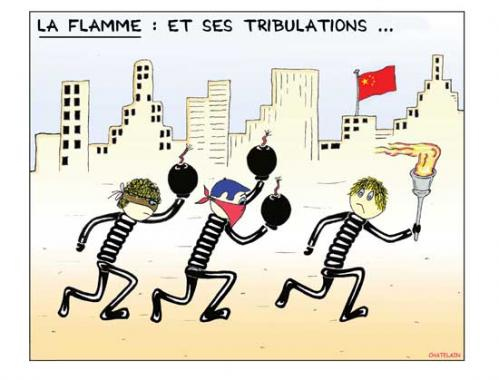 Cartoon: La flamme ... (medium) by chatelain tagged humour,la,flamme,olympique,