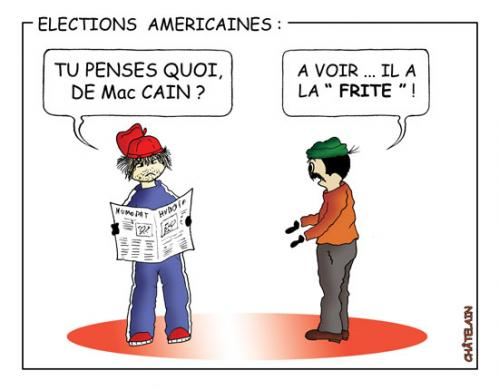 Cartoon: LES ELECTIONS AMERICAINES (medium) by chatelain tagged humour,elections,amerique,patarsort,chatelain,france,
