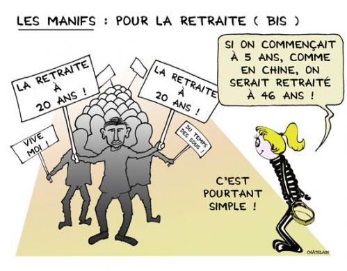 Cartoon: Les Manifs (medium) by chatelain tagged humour,manifs