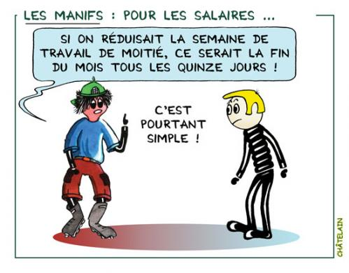 Cartoon: Les Manifs suite (medium) by chatelain tagged humour,manifs