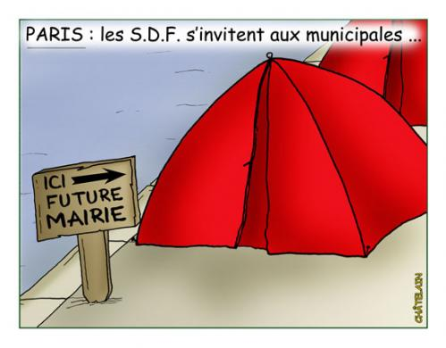 Cartoon: Les SDF aux municipales (medium) by chatelain tagged sdf,paris,chatelain
