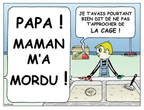 Cartoon: MAMAN M A MORDU (medium) by chatelain tagged maman,mordu,france,patarsort,
