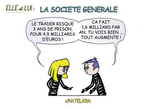 Cartoon: SOCIETE GENERALE (medium) by chatelain tagged humour,societe,generale,patarsort