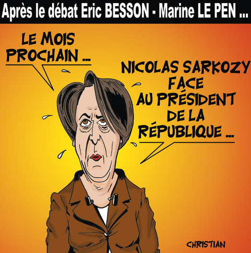 Cartoon: Arlette CHABOT (medium) by CHRISTIAN tagged besson,peillon,le,pen