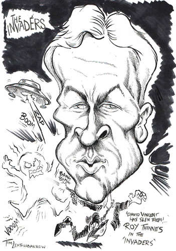 Cartoon: ROY THINNES (medium) by Tim Leatherbarrow tagged roythinnes,davidvincent,scifi,theinvaders,classictv