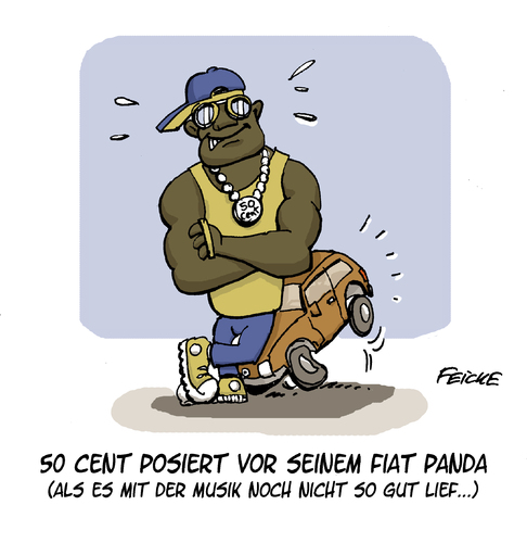 Cartoon: 50 Cents erstes Auto (medium) by FEICKE tagged rap,auto,posing,50,cent,musik,amerika,rapper,hip,hop,angeber,limousine,fiat,panda,kleinwagen,rap,auto,posing,50,cent,musik,amerika,rapper,hip,hop,angeber,limousine,fiat,panda,kleinwagen
