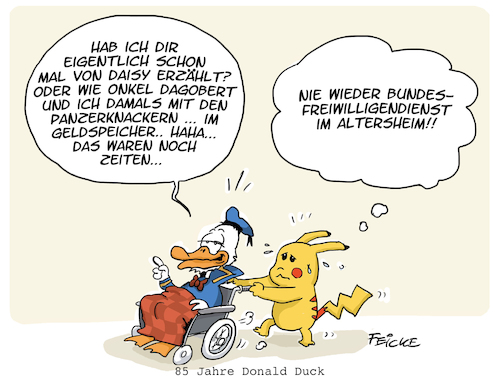 Cartoon: Donald Altersheim (medium) by FEICKE tagged donald,duck,pikachu,pokemon,walt,disney,comic,manga,generation,senioren,demografie,alter,jugend,donald,duck,pikachu,pokemon,walt,disney,comic,manga,generation,senioren,demografie,alter,jugend