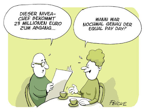 Cartoon: Equal Pay day (medium) by FEICKE tagged nivea,manager,beiersdorf,rekord,abfindung,gehalt,tantieme,frauen,rechte,feminismus,equal,pay,day,nivea,manager,beiersdorf,rekord,abfindung,gehalt,tantieme,frauen,rechte,feminismus,equal,pay,day