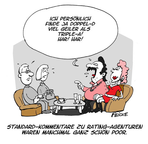 Cartoon: Rating (medium) by FEICKE tagged prolet,krise,euro,europa,aaa,dd,triple,double,note,ranking,bilanz,agenture,rating