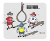 Cartoon: High Noon (small) by FEICKE tagged duell,western,high,noon,fussball,bundesliga,finale,abstieg,abstiegskampf,gringo,hamburg,hamburger,sv,hsv,braunschweig,eintracht,nürnberg,club