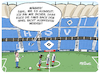 Cartoon: HSV letztes Spiel (small) by FEICKE tagged hamburg,sportverein,hsv,fussball,bundesliga,aufstoeg,relegation,motivation,corona,fans