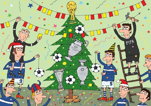 Cartoon: football new year (medium) by Sergei Belozerov tagged sport,fußball,football,winter,tree,decoration,christmas,cup,card,referee