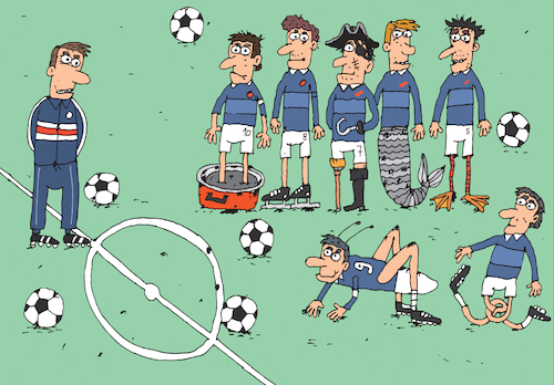 Cartoon: Forwards (medium) by Sergei Belozerov tagged football,soccer,player,ball,legs,mermaid,grasshopper,team,championship,liga