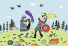 Cartoon: Kampf um die Ernte (small) by Sergei Belozerov tagged harvest,ernte,zucchini,eggplant,vegetarier,knight,sword,schwert,schlacht,battle,fight,armor