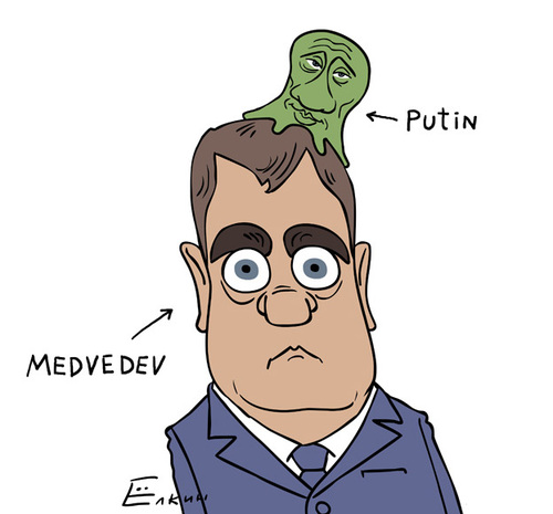 Cartoon: Putin  -  Brain Slug (medium) by Elkin tagged putin
