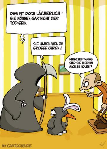 Cartoon: Falscher Tod (medium) by mil tagged tod,hase,doppelgänger,verkleidung,mil
